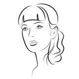 Ragazza di bellezza Bello fronte della donna di modo inchiostro Fotografie Stock Libere da Diritti