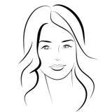 Ragazza di bellezza Bello fronte della donna di modo inchiostro Immagine Stock Libera da Diritti