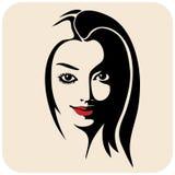 Ragazza di bellezza Bello fronte della donna di modo inchiostro Fotografia Stock