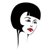 Ragazza di bellezza Bello fronte della donna di modo inchiostro Immagini Stock