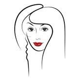 Ragazza di bellezza Bello fronte della donna di modo inchiostro Immagine Stock