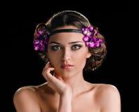 Ragazza di bellezza con la treccia dei capelli fotografie stock