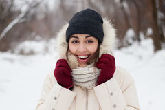 Ragazza di bellezza i precedenti di inverno Fotografie Stock