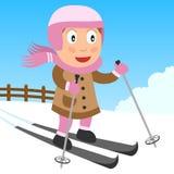 Ragazza di corsa con gli sci nella sosta Immagini Stock