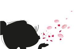 Ragazza di Cutie che invia vettore del cuore e di bacio royalty illustrazione gratis