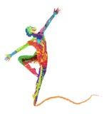 Ragazza di dancing astratta della siluetta di vettore Fotografie Stock Libere da Diritti
