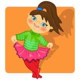 Ragazza di dancing illustration.cute del bambino del fumetto Fotografia Stock Libera da Diritti