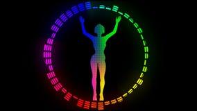 Ragazza di dancing multicolore Alpha Channel Alfa metallina HD pieno illustrazione vettoriale