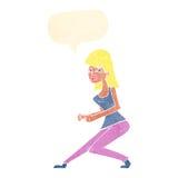 ragazza di dancing pazza del fumetto con il fumetto Immagini Stock Libere da Diritti
