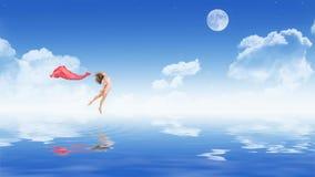 Ragazza di dancing in vestito sulla superficie dell'acqua fotografie stock
