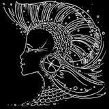 Ragazza di disegno in bianco e nero di pesci del segno dello zodiaco con capelli come l'irochese di un pesce dell'aletta illustrazione di stock