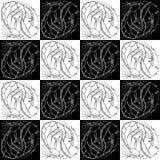 Ragazza di disegno in bianco e nero di profilo di struttura dello zodiaco di scorpione senza cuciture del segno in un casco di sp royalty illustrazione gratis