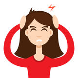 Ragazza di emicrania Concetto di ipertensione Illustrazione di vettore illustrazione di stock
