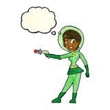 ragazza di fi di sci del fumetto con la bolla di pensiero Immagine Stock