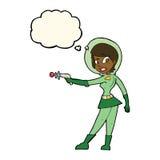 ragazza di fi di sci del fumetto con la bolla di pensiero Fotografia Stock Libera da Diritti