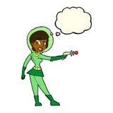 ragazza di fi di sci del fumetto con la bolla di pensiero Fotografia Stock