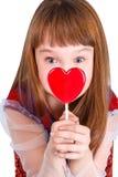 Ragazza di giorno dei biglietti di S. Valentino Fotografia Stock Libera da Diritti
