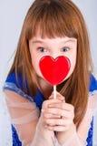 Ragazza di giorno dei biglietti di S. Valentino Fotografie Stock Libere da Diritti
