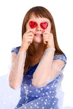 Ragazza di giorno dei biglietti di S. Valentino Fotografia Stock