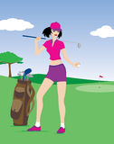 Ragazza di golf Fotografie Stock