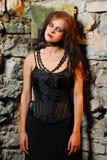 Ragazza di Goth nel Dungeon Fotografie Stock Libere da Diritti