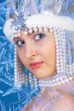 Ragazza di inverno sopra l'azzurro Fotografie Stock Libere da Diritti