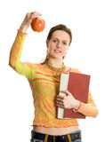 Ragazza di istituto universitario con il libro e la mela Immagine Stock Libera da Diritti