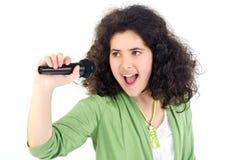 Ragazza di karaoke fotografia stock