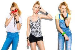 Ragazza di modello alla moda di modo adolescente Fotografie Stock Libere da Diritti