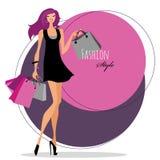 Ragazza di modo Donna con i sacchetti di acquisto illustrazione vettoriale
