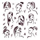 Ragazza di modo Ritratto disegnato a mano Fotografia Stock