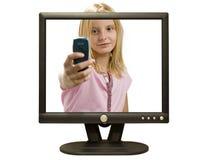 Ragazza di multimedia Immagini Stock Libere da Diritti