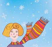 Ragazza di natale nella priorità bassa divertente della sciarpa Fotografie Stock