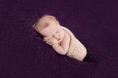 Ragazza di neonato addormentata sui precedenti viola Fotografia Stock Libera da Diritti