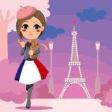 Ragazza di Parisien illustrazione vettoriale