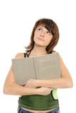 ragazza di pensiero con il libro Fotografie Stock