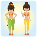 Ragazza di peso eccessivo sveglia. illustrazione vettoriale
