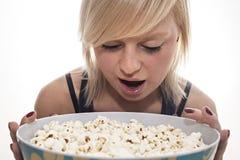 Ragazza di Popcorne Fotografia Stock Libera da Diritti