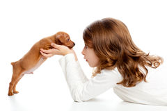 Ragazza di profilo del Brunette con pinscher del cucciolo del cane il mini Immagine Stock