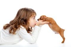 Ragazza di profilo del Brunette con pinscher del cucciolo del cane il mini Immagini Stock