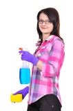 Ragazza di pulizia Fotografie Stock Libere da Diritti