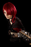 Ragazza di Redhead con la chitarra, vista di alto angolo Immagine Stock Libera da Diritti