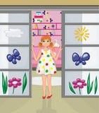 Ragazza di Redhead nella porta della sua stanza Fotografia Stock