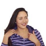 Ragazza di risata abbastanza allegra del brunette Fotografie Stock Libere da Diritti