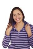 Ragazza di risata abbastanza allegra del brunette. Fotografie Stock