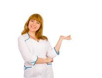 Ragazza di risata sorridente in uniforme dell'infermiera Fotografia Stock Libera da Diritti