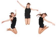 Ragazza di salto in tre pose Fotografia Stock