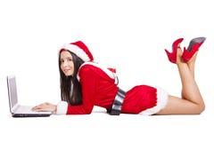 Ragazza di Santa Claus Fotografie Stock