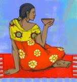 Ragazza di seduta con la tazza. Immagini Stock Libere da Diritti