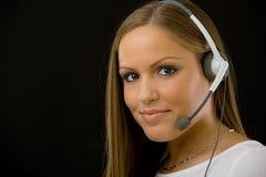 Ragazza di servizio di assistenza al cliente Fotografie Stock
